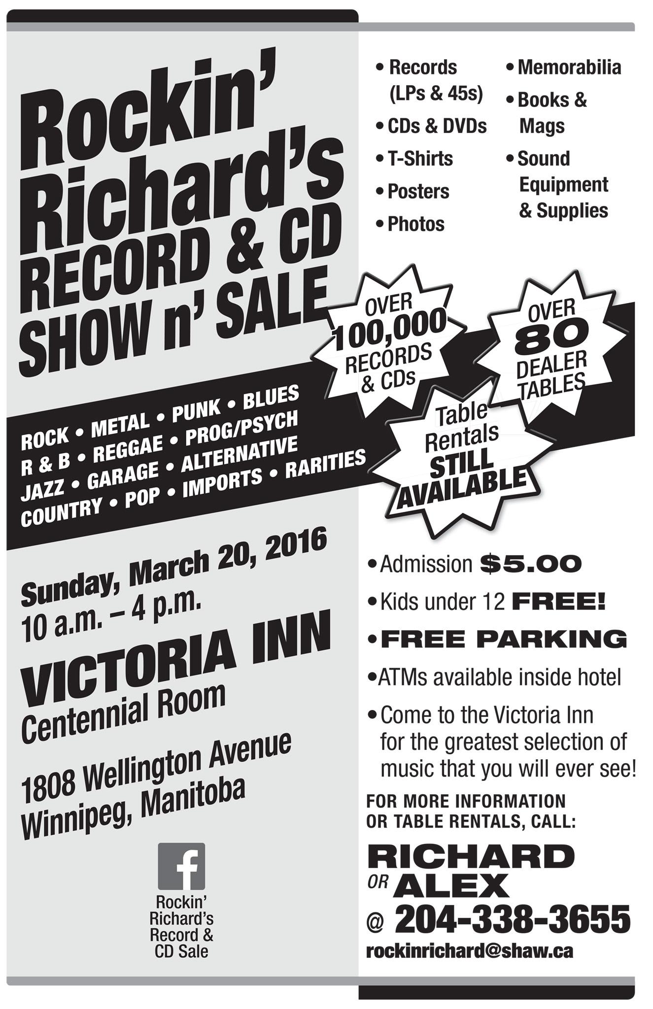 Rockin' Richard's Record & CD Sale Winnipeg March 20 2016
